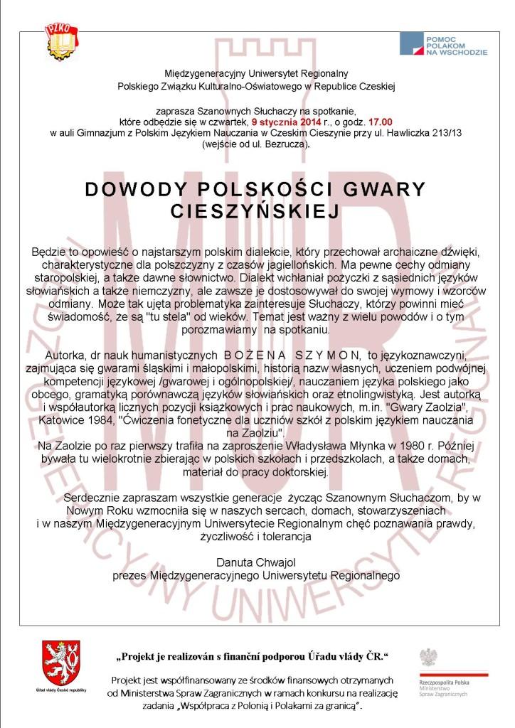 Dowody polskości gwary cieszyńskiej