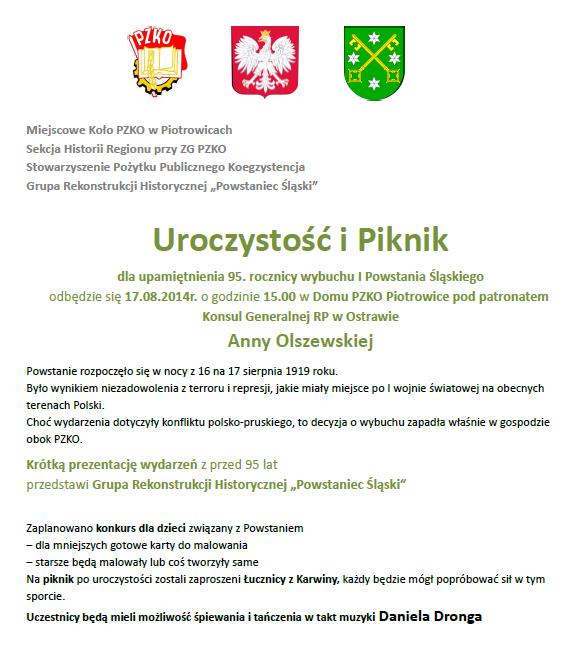 Piknik w 95. rocznicę wybuchu I Powstania Śląskiego