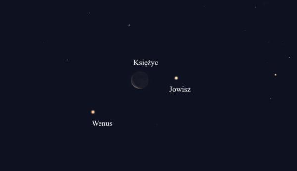"""""""Zwrot"""" astronomicznie: Wenus, mały sierp Księżyca i Jowisz"""