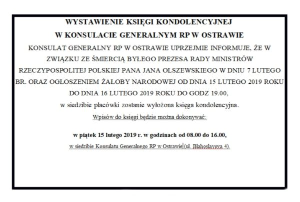 W Konsulacie Generalnym w Ostrawie wystawiono Księgę Kondolencyjną
