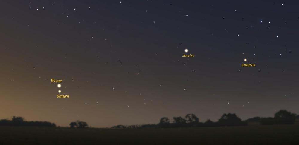 """""""Zwrot"""" astronomicznie: Koniunkcja Wenus i Saturna"""