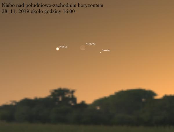 ZWROT ASTRONOMICZNIE. Koniunkcja Księżyca z Wenus i Jowiszem