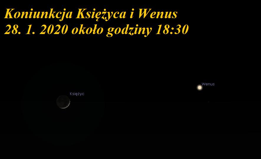 Zwrot astronomicznie. Koniunkcja Księżyca z Wenus