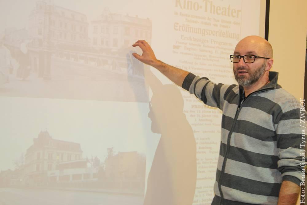 O najstarszych cieszyńskich kinach opowiada Krzysztof Kleczek