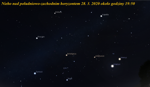 Księżyc w pobliżu Wenus i Aldebarana