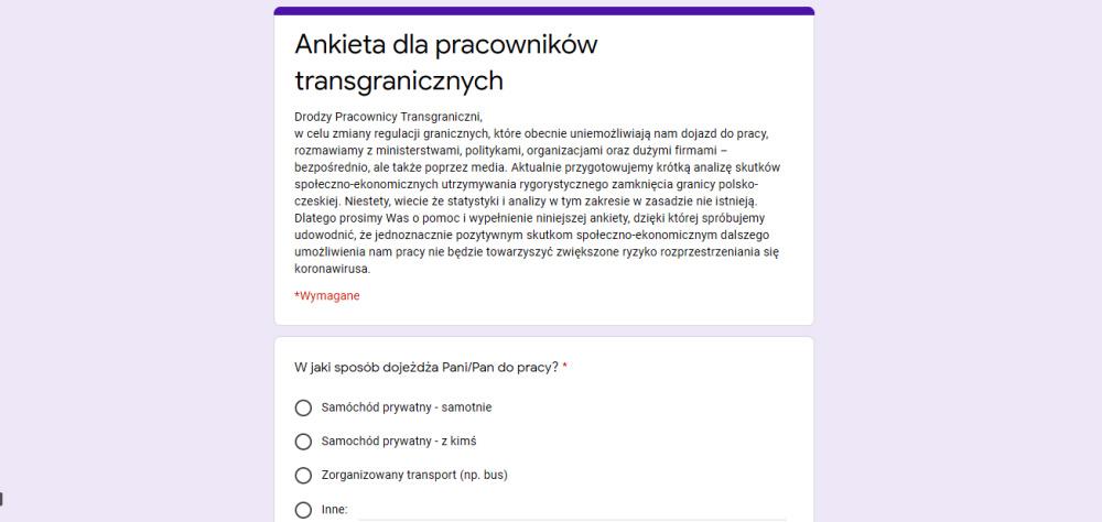 Nie tylko petycja, ale też ankieta. Pracownicy transgraniczni się nie poddają!
