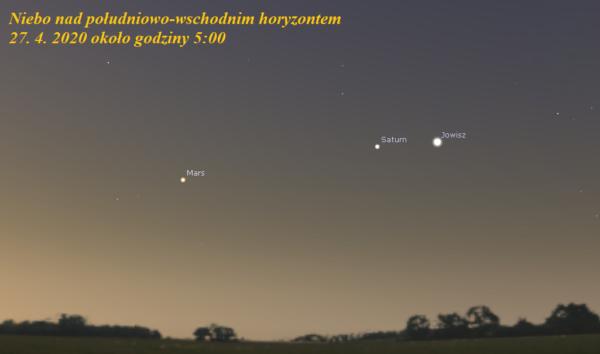 Wieczorem Wenus a nad ranem Mars, Saturn i Jowisz