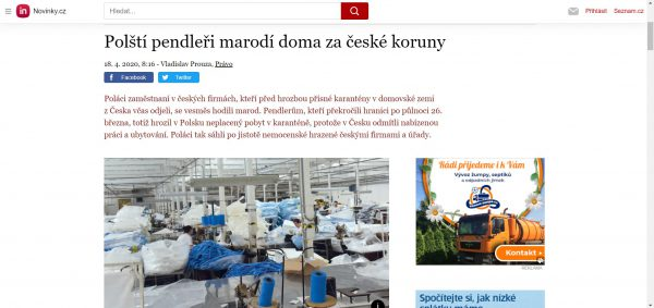 Polacy za czeskie pieniądze siedzą w domu – pisze portal novinky.cz