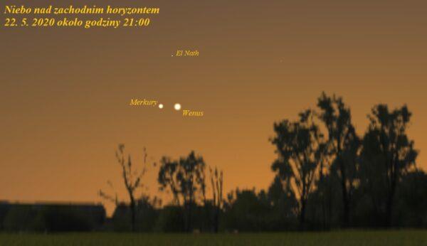 Wenus i Merkury na wieczornym niebie