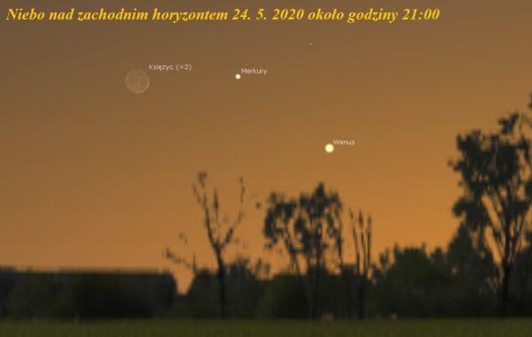 Koniunkcja Księżyca z Wenus i Merkurym