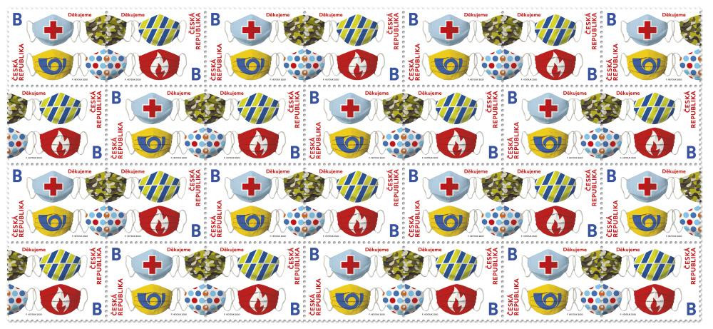 Znaczki Poczty Czeskiej jako podziękowanie dla tych, którzy walczyli z koronawirusem