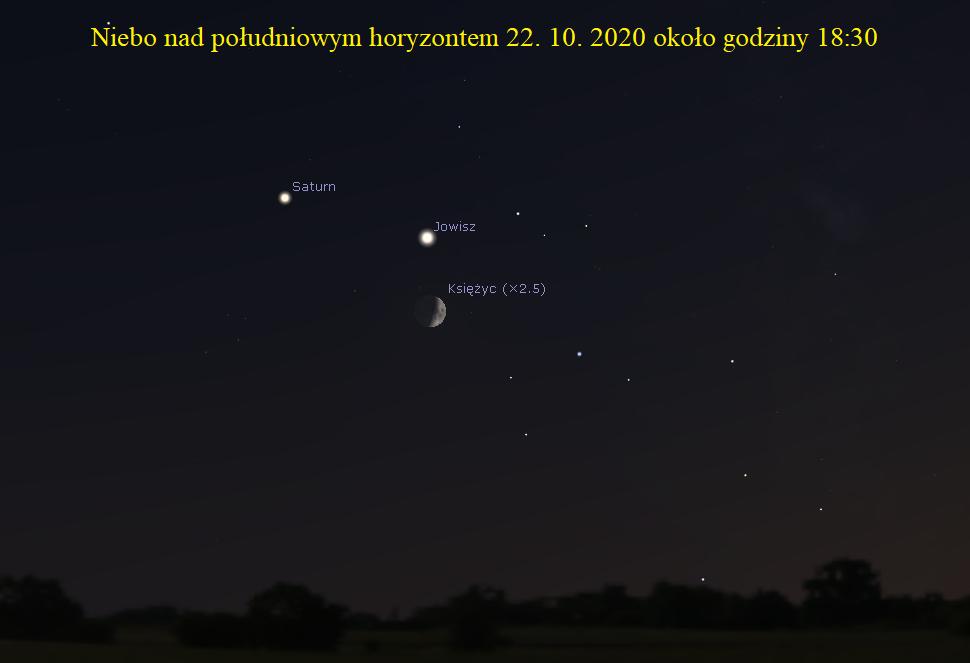 ZWROT ASTRONOMICZNIE. Koniunkcja Księżyca z Jowiszem i Saturnem
