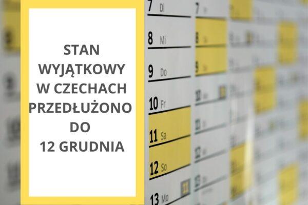 Stan wyjątkowy w Czechach przedłużono do 12 grudnia