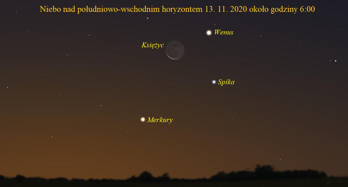 Merkury i Wenus z Księżycem na porannym niebie