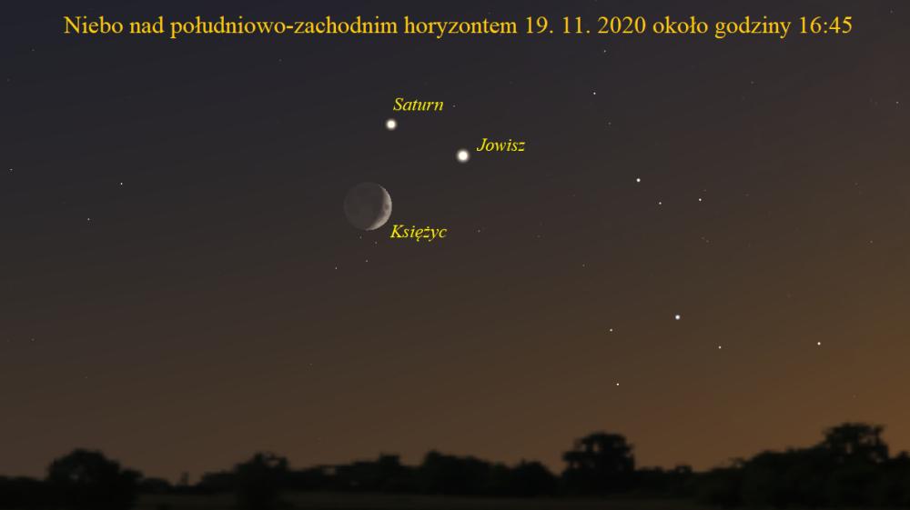 Koniunkcja Księżyca z Jowiszem i Saturnem