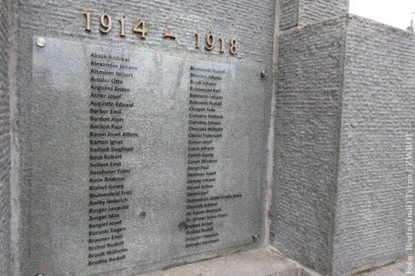 Przywrócono nazwiska na pomniku poległych w I wojnie światowej w Czeskim Cieszynie