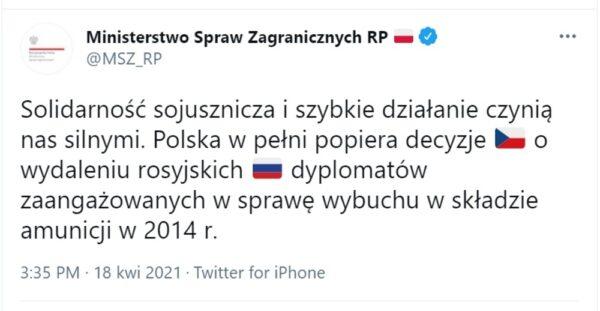Polska popiera decyzję Czech o wydaleniu rosyjskich dyplomatów