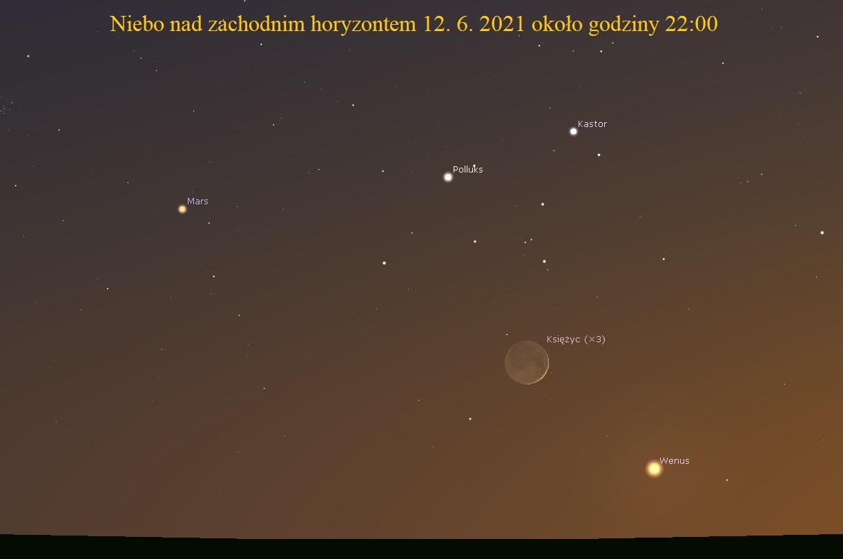 Młody Księżyc w pobliżu Wenus i Marsa