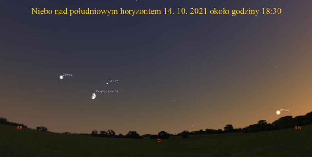 Księżyc w pobliżu Saturna i Jowisza